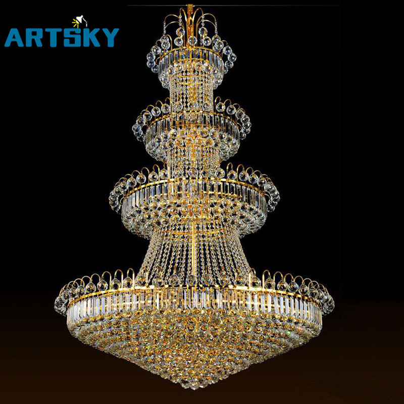 100cm Luxury Big Europe Large Gold Luster Crystal Chandelier Light Fixture  Classic Light Fitment for Hotel Lounge Decoration