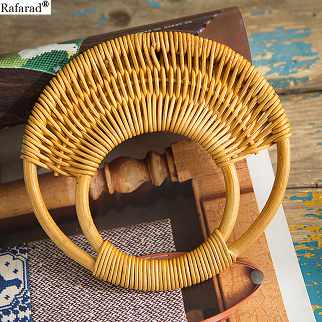 2018 Round Rattan Purse Bag Handle Wooden Hanger Bamboo Purse Frame