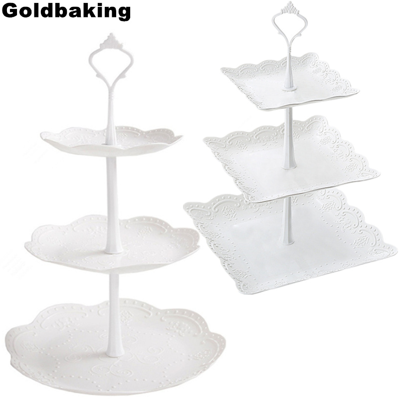 3 Tire Food Display Stacked Cupcake Stand Plastic Cupcake Dessert Tower Party Pastry Serving Platter