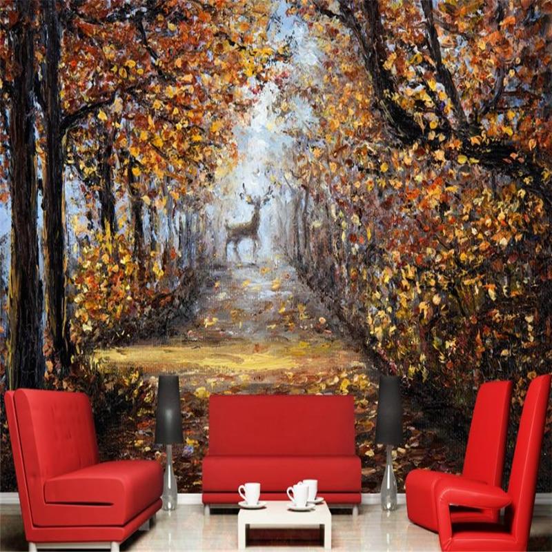 Non-woven wallpaper Painted Vintage Landscape wall mural Art wall decor