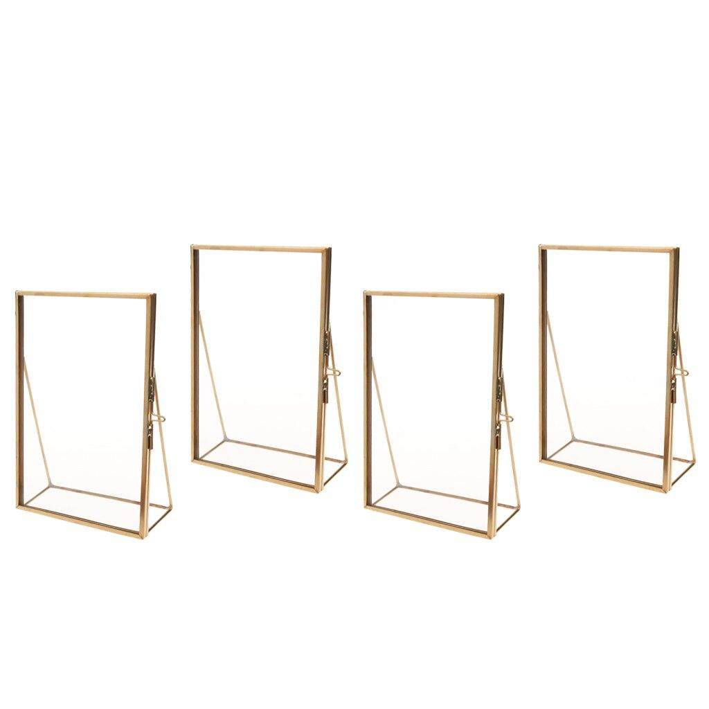 4 шт. латунь стекло фото рамка портрет домашний свадебный Декор Отдельно стоящее золото
