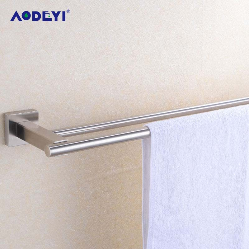 AODEYI Bathroom Solid 304 Stainless Steel Brushed Nickel Double Towel Bars Bathroom 304 Stainless Steel Solid Towel Holder free shipping bathroom accessories products solid 304 stainless steel nickel brushed double towel bars towel holder sus003