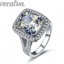 Vecalon Engagement Wedding band Ring for Women Cushion cut 10ct 5A Zircon 192pcs Cz 14KT White Gold Filled Finger ring
