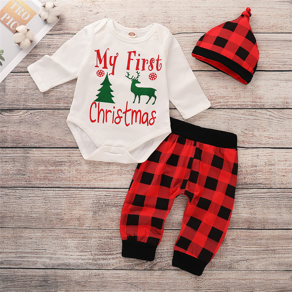 e554f327a8fc Toddler Newborn Baby Boys Girls My First Christmas Letters Print Clothes  Set Christmas Tree Long Sleeve Romper Pant Hat Outfit