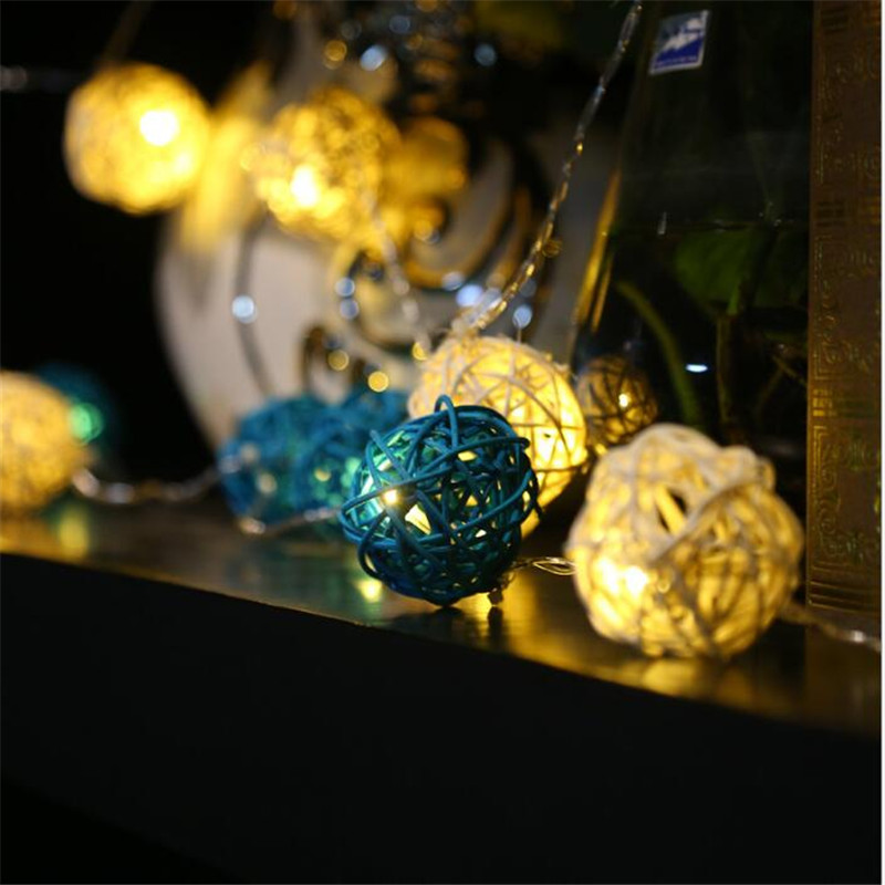2Colors Flashing White Blue Rattan Ball String Lights 5M 28LEDs Christmas Indoor Outdoor ...