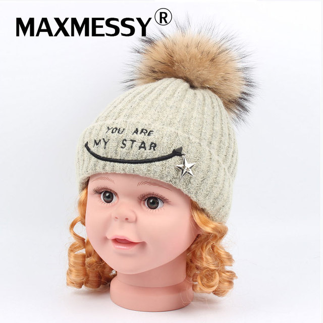 a78e1ef4410 MAXMESSY Children Winter Knitted Hat For Girls Boy 1-5Y Baby Cute Beanies  Embroidery Star Raccoon Fur Pompom Warm Kid Cap MH128