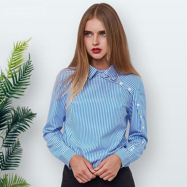 На элегантных кнопках полосатая блуза Для женщин 2018 зима синий отложной воротник рубашка с длинными рукавами Винтаж Для женщин s Топы и блузки женские