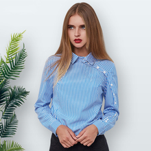 Elegant Button Striped Blouse Women 2018 Winter Blue Turn-down Collar Long Sleeve Shirt Vintage Womens Tops and Blouses Female