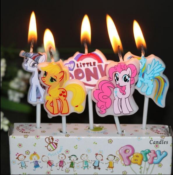 5 Sets Birthday Candles For Cake My Little Pony Girls Theme Party