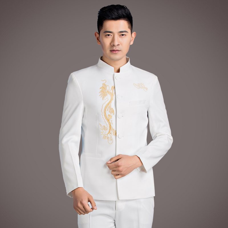 Chinese Style Embroidery Male Suits Black White Blazers Prom Party