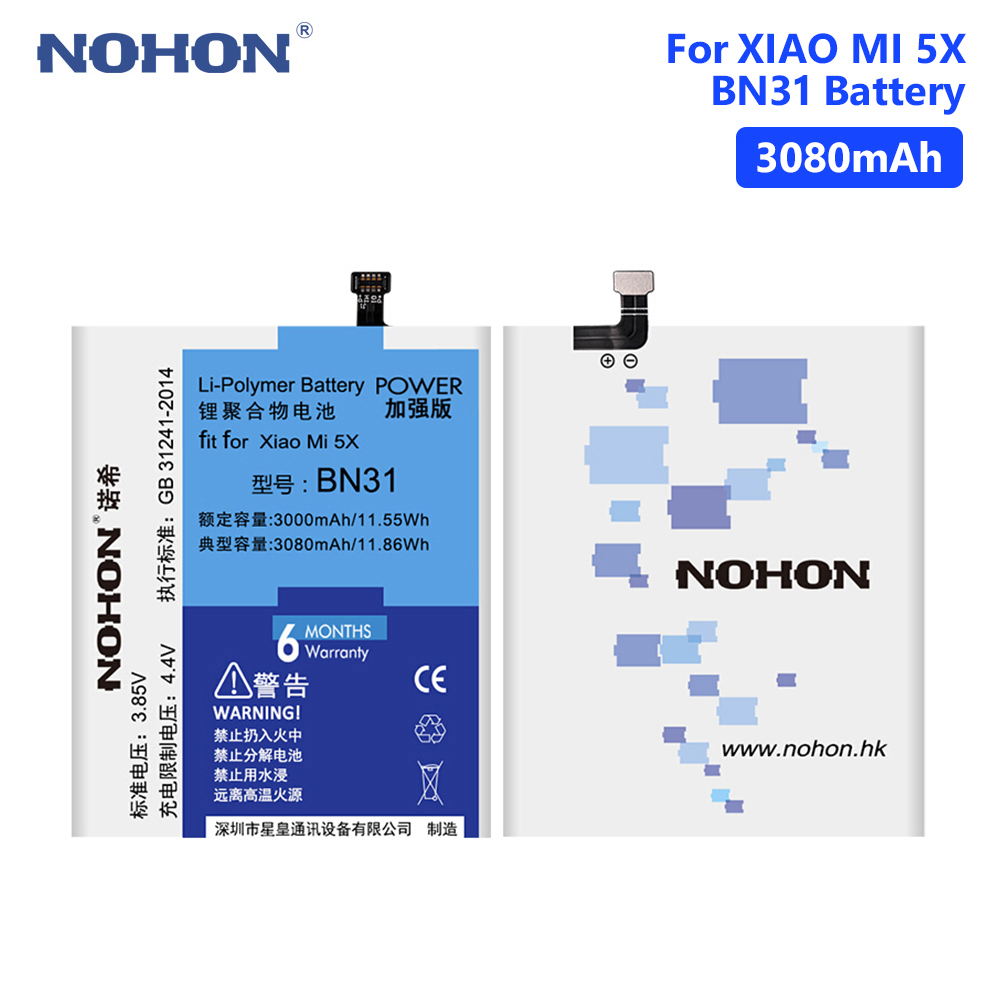 NOHON BN31 Phone <font><b>Battery</b></font> 3.85V 3080mAh For <font><b>Xiaomi</b></font> Mi 5X Mi5X/Mi A1 <font><b>MiA1</b></font>/Redmi Note 5A/Redmi Note 5A Pro/Redmi Y1 Lite + Tools image