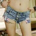 Calças de brim mulher 2017new moda sexy Oco Mopo Flash UltraShort bolso Sandy praia Em férias shorts mulheres calças de brim da american apparel