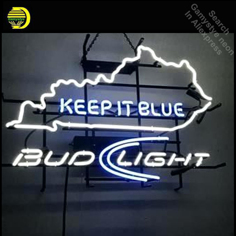 Neon Signs for Keep It Blue Bud Light Neon bulb Sign Beer Bar Pub Neon Light Sign Store Display with board Lamps dropshipping