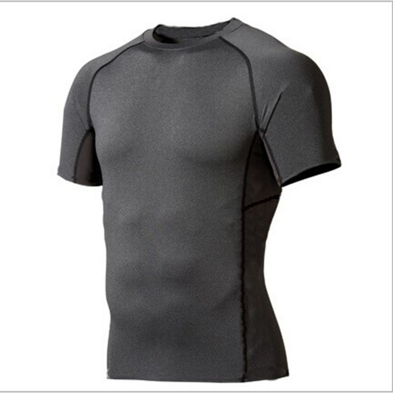 Men Male Outdoor Sports Short Sleeve Compression Sport GYM Tee Shirt Layer Tight Running T-shirts