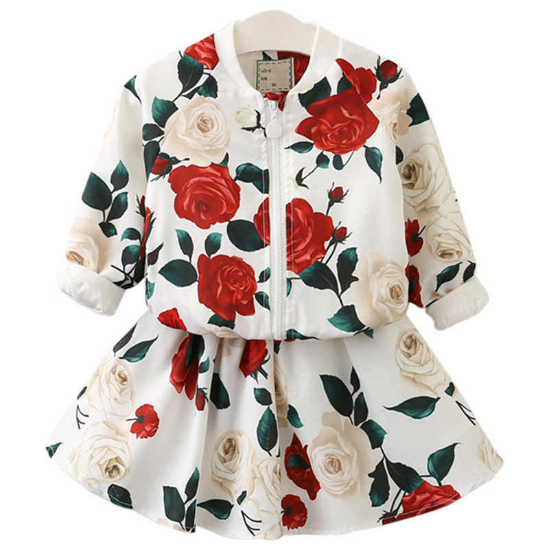 Beenira Girls Clothing Sets 2018 New Arrival Spring O-Neck Rose Pattern Solid Kids Clothing Sets Children Clothing Dress 3-8Year 2016 spring girls clothes girls clothing sets new arrival female child flower print o neck pullover short skirt set baby twinset
