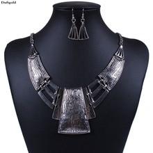 Короткие гиперболы геометрические Подвески массивное ожерелье набор антикварное серебро колье ожерелье s серьги для женщин винтажные ювелирные наборы