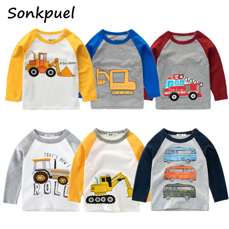 Kids Boys T-shirts Baby Long Sleeve Excavator Tops Children Autumn Solid Cotton Sweatshirt 2 3 4 5 6 7 8 Years Boy Girl T Shirts