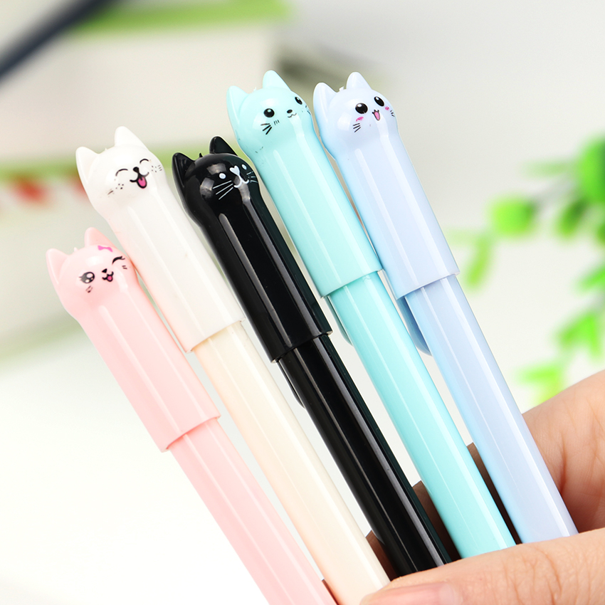 4PCS Cute Kawaii Black Ink Cat Gel Pen Cartoon Plastic Gel Pens for Writing Office School Supplies Stationery 3pcs set kacogreen liquid ink gel pen plastic student office writing pens black blue red ink school supplies stationery