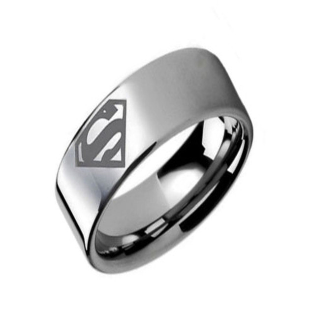 Superman DC Comics Logo Stainless Steel Ring D4Z6HuCSnF