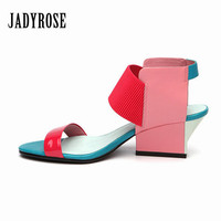 Jady Rose New Mixed Color Women Shoes Gladiator Summer Leather Sandals 2017 High Heels Valentine Shoes