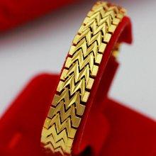 Широкий браслет для женщин и мужчин желтое золото