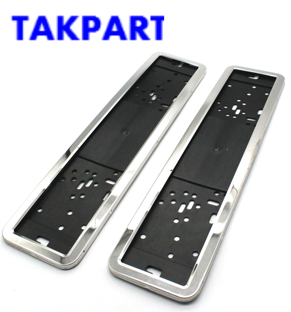 TAKPART 2 x Stainless Steel EU Number License Plate Bracket Frame Holder Front and Rear Eu Plate 52cm x 11cm