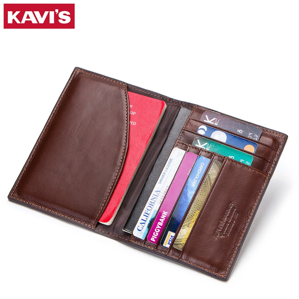 KAVIS Genuine Leather Passport Cover ID Business Card Holder Travel Credit Wallet for Men Purse Case Driving License Bag Thin temena travel passport cover wallet travelus waterproof credit card package id holder storage organizer clutch money bag aph113