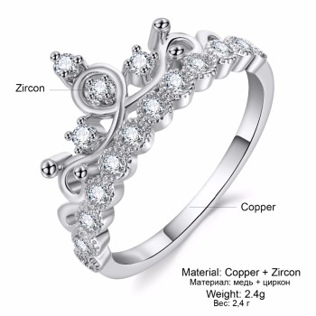 Crown Ring Wedding Zircon Engagement Ring Trend Rose Gold  1
