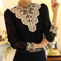 Women Tops Blouses blusas 2016 New Fashion blusas y camisas mujer woman long sleeve Shirts Plus Size Lace Blouse Vetement Femme