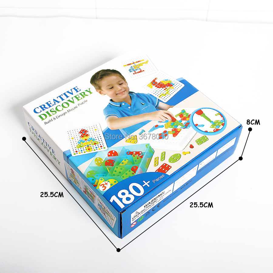 US $22 44 49% OFF|DIY Discovery Build Design Mosaic Puzzles Play Toys Set  with Screw Nuts Tools Creative and Educational Gift for Kids 180+PCS-in