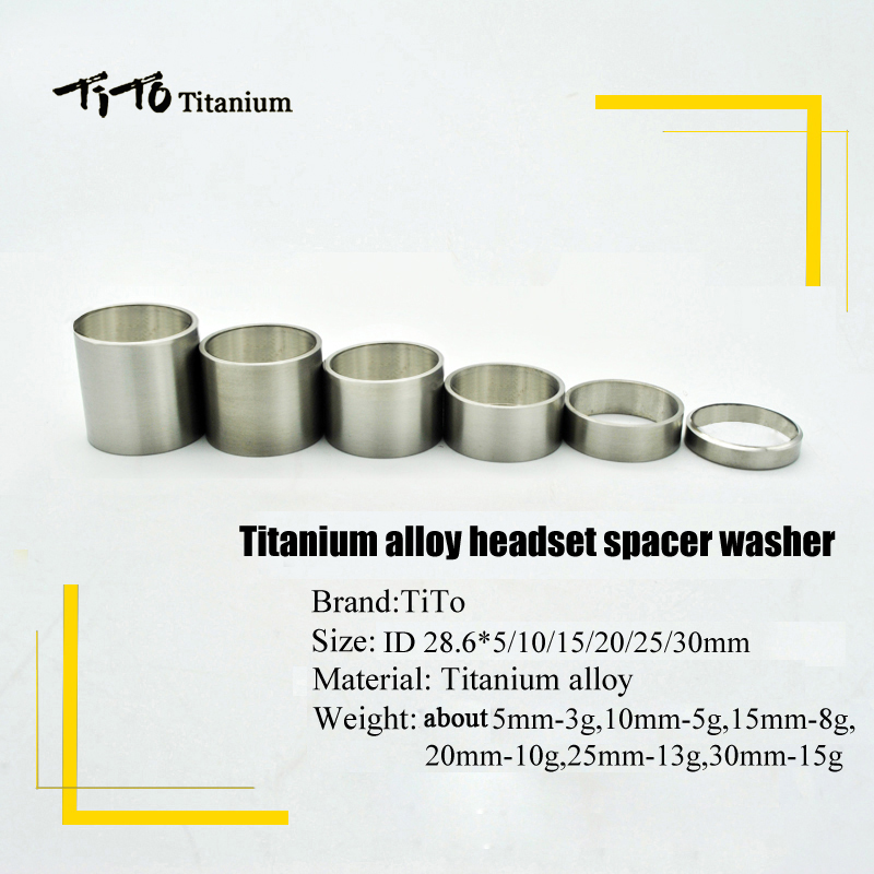 Free Shipping!!!TiTo Titanium Bicycle Headset Stem Spacers 5/10/15/20/25/30 Mm Bike Stem Spacer Washers Headset