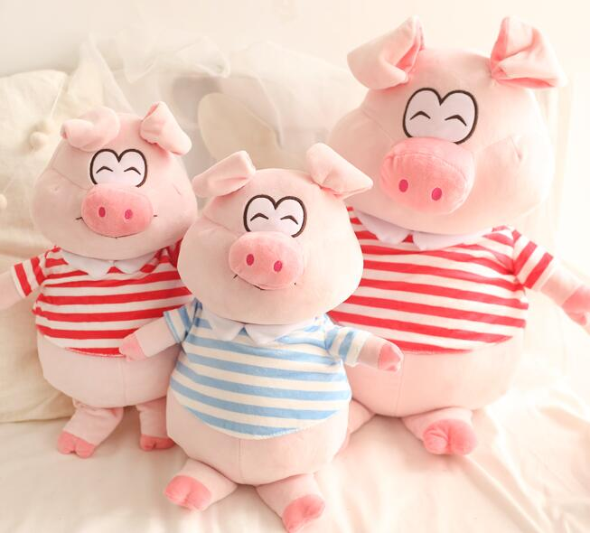 1pc 30cm 45cm cute striped T-shirt smile pig Christmas gift plush doll cushion pillow novelty stuffed toy