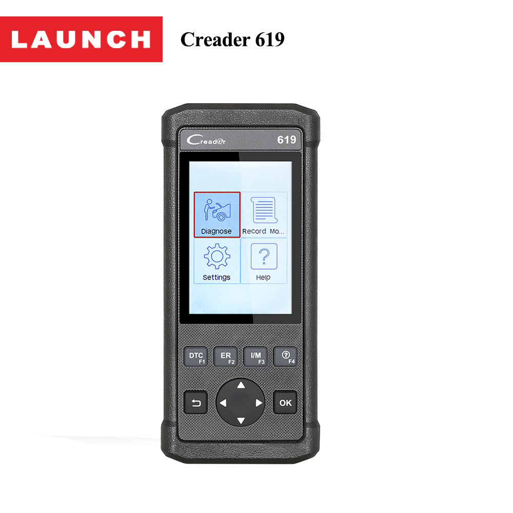 LAUNCH CReader 619 OBD2 OBDII Diagnostic Scan Tool Support ABS/SRS Systems CR619 OBD 2 Scanner Same as Creader 6011 2014 r2 new design multidiag pro same as obd2 vd tcs cdp scanner no bluetooth free activate 8car 8truck cable dhl free ship