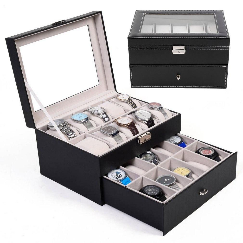 20 grilles montres boîtes bijoux organisateur montre affichage boîte de rangement Double couche PU cuir carré bijoux boîte cadeau livraison directe