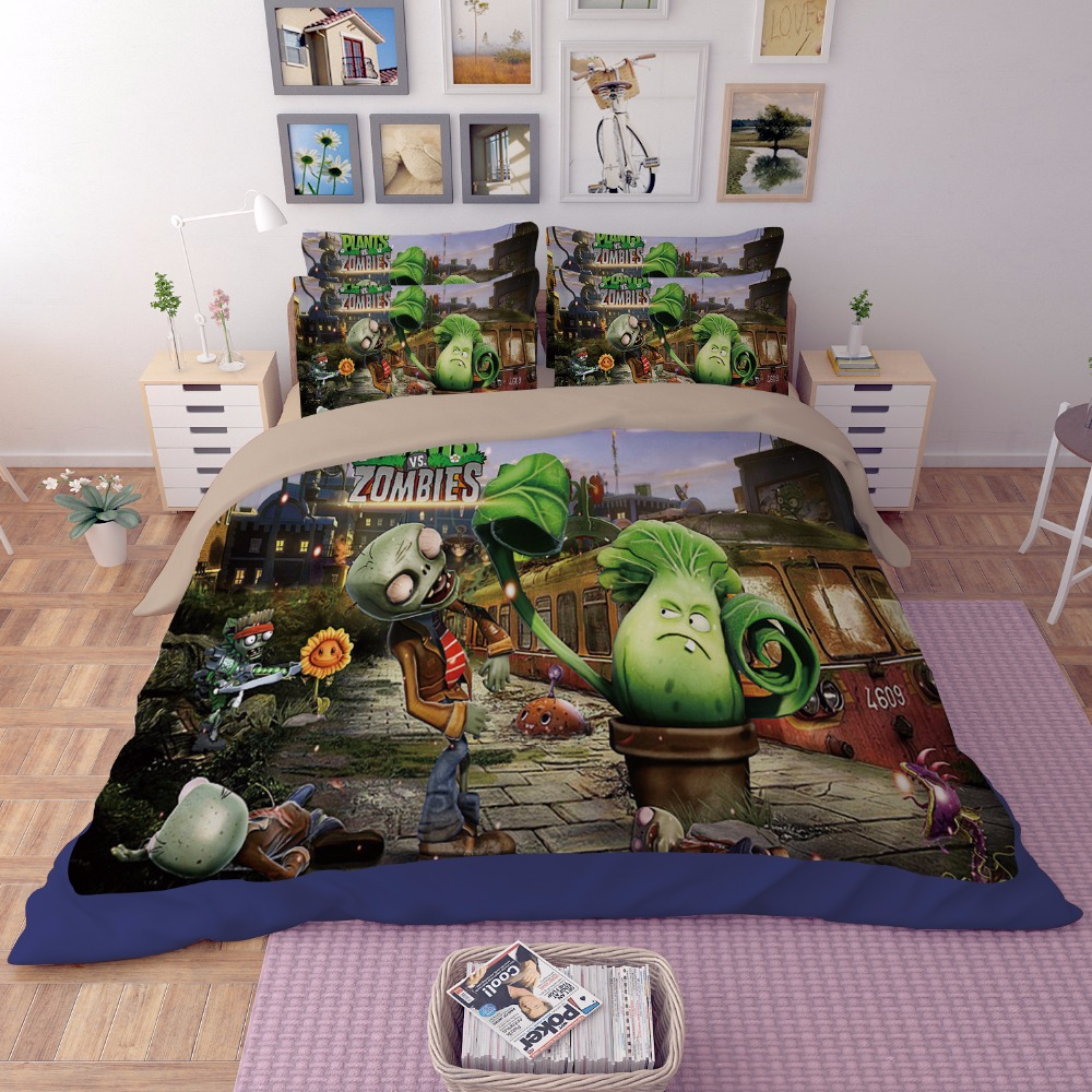 3D bedding set Plants vs Zombies skeleton printing Home textile cartoon twin full queen king size