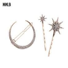 WWLB Brands Unique Design Moon Star Hair Clip Jewelry Rhinestone Hairpins Fashion Gold Barrettes Wedding Accessories