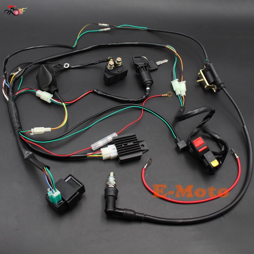 Faisceau de câbles électriques CDI bobine relais bougie d'allumage interrupteur pour 50 70 90 110CC 125CC ATV QUAD BUGGY e-moto