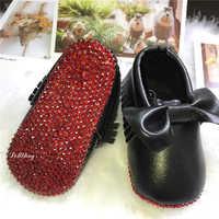 Rouge amour mocassin pétillant personnalisé fait à la main strass bébé spectacle baptême fille chaussures infantile premiers marcheurs Sapatos plaque d'espadrille