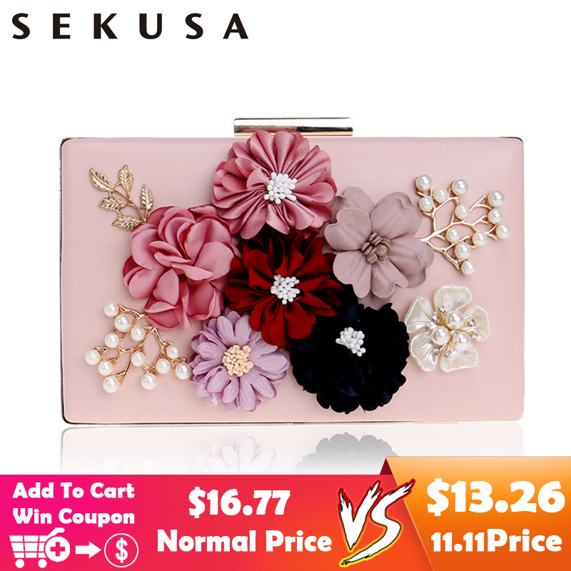 SEKUSA PU Fashion Women Evening Bag Flower Beaded Small Day Clutch Evening Bag With Chain Shoulder Handbags Leather Metal Purse все цены
