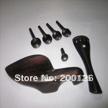 Size 1/2 Ebony Violin parts Chin Rest,End Pin,Tail piece,4 Tegs, tailpiece gut free charge