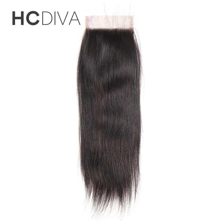HCDIVA Hair Straight Peruvian Human Hair Lace Closure Non Remy Hair Closures 4×4 Free Part Medium Brown Swiss Lace 8-18 Inch
