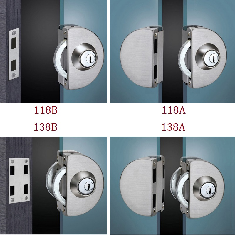 Stainless Steel Entry Gate 10-12mm Glass Door Lock Locks W Key Swing and Sliding Door Round Design 4 Kinds