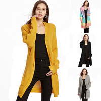 2019 Autumn & Winter Women Knitting Sweaters Cardigan Loose Solid Striped Full Sleeves Long Jacket Plus Size Yellow Black Gray