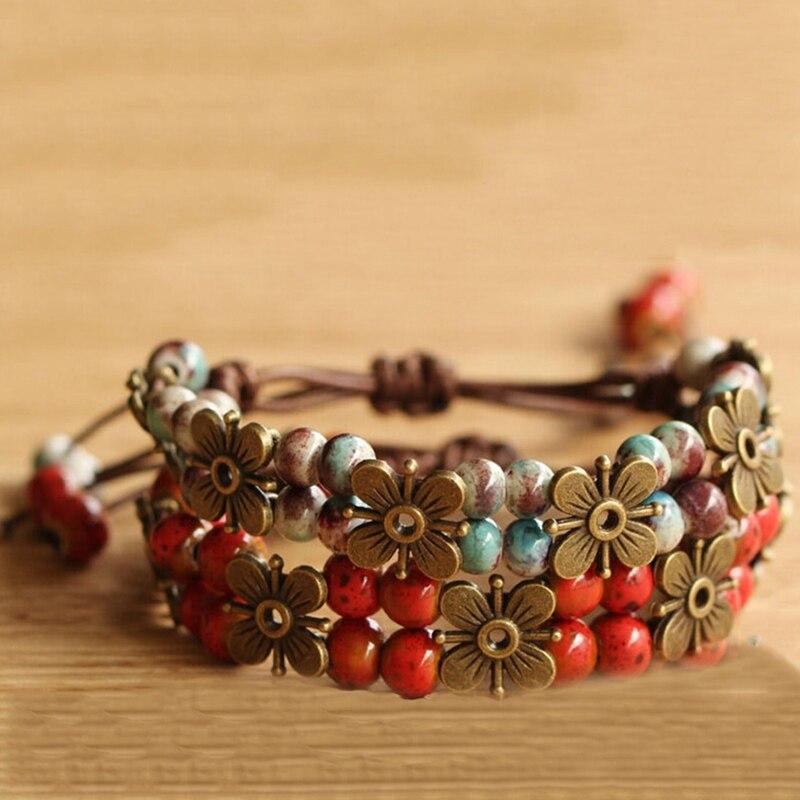 zheFanku National Retro The High Temperature Glaze Ceramic Handmade Trinkets Women's Fashion Bracelets