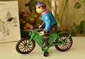Retro clockwork tin toys Classic clockwork tin bike Biker Rare collectibles