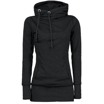 Casual Women Hoodie Solid Pocket Mid-Length Drawstring Long Sleeve 4 Colors