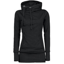 Rosetic Gothic Casual Women Hoodie Solid Pocket Hooded Mid-Length Drawstring Long Sleeve Multi Color Plus Size Fashion Hoodies