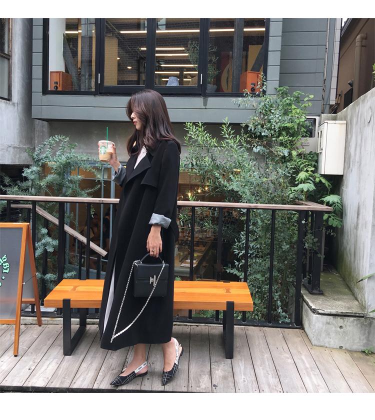 Spring Autumn Maxi Long Women's Loose Trench Coat With Belt Khaki & Black Plus Size Korean Style Windbreaker Outwear 13