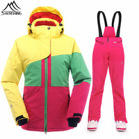 SAENSHING Women's ski suit Girls Snow Jacket Thicken Warm Waterproof Winter Suit Female Outdoor Skiing And Snowboarding Suits