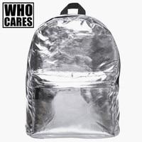 Backpacks Solid Silver Leather Backpack Softback Zohra For School Student Backpack Women Mochila Feminina Free Shipping